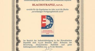 dd309efe0 Národné informačné stredisko Slovenskej republiky, a.s. ohodnotilo firmu  BLACHOTRAPEZ, s.r.o. známkou -
